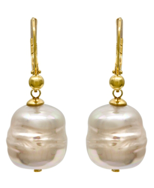 Majorica 18K Gold Over Sterling Silver Earrings, Organic Man-Made Baroque Pearl Drop In White