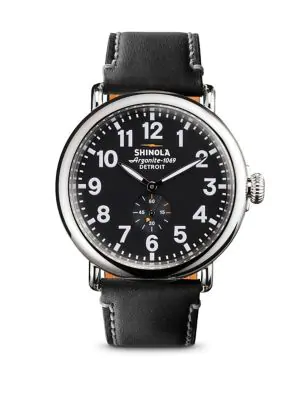 Shinola The Runwell Black Dial Leather Strap Watch, 41Mm