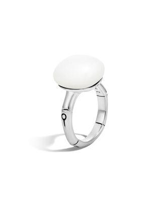John Hardy Batu Bamboo Silver Ring With White Moonstone