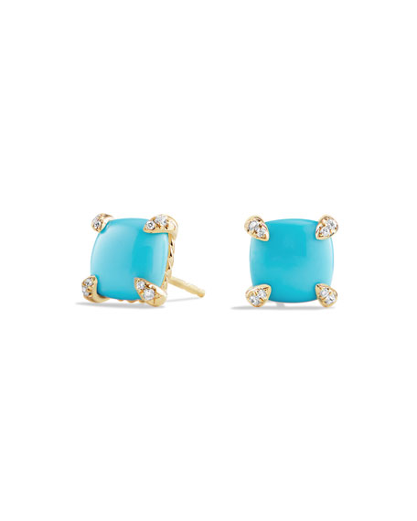 David Yurman Chatelaine Earrings With Turquoise And Diamonds In 18K Gold In Blue/Gold
