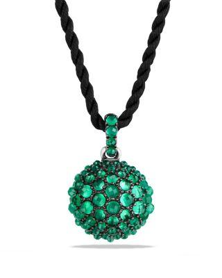 """David Yurman 20Mm Cable Berries Faceted Hematine Pendant Necklace, 42"""" In Green Onyx"""