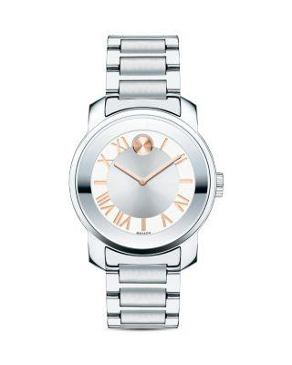 Movado Bold Luxe Stainless Steel Bracelet Watch/32mm In Silver/ Rose Gold