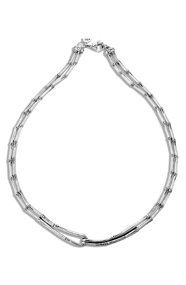 "John Hardy Bamboo Sterling Silver Hook Necklace, 16"""
