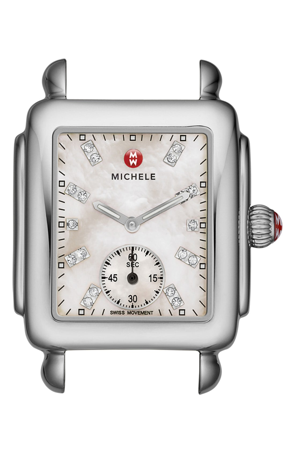 Michele Deco Mid Gold Diamond Dial Watch Head, 29 X 31mm In Silver