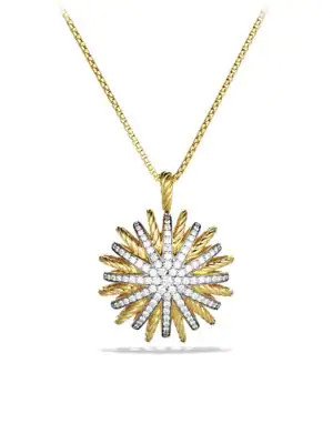 David Yurman Starburst Large Pendant With Diamonds In Gold On Chain In Yellow Gold