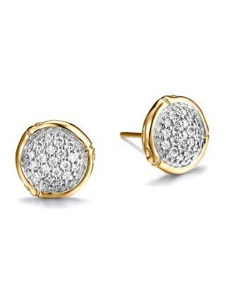 John Hardy Bamboo 18K Yellow Gold Diamond Pave Small Round Stud Earrings