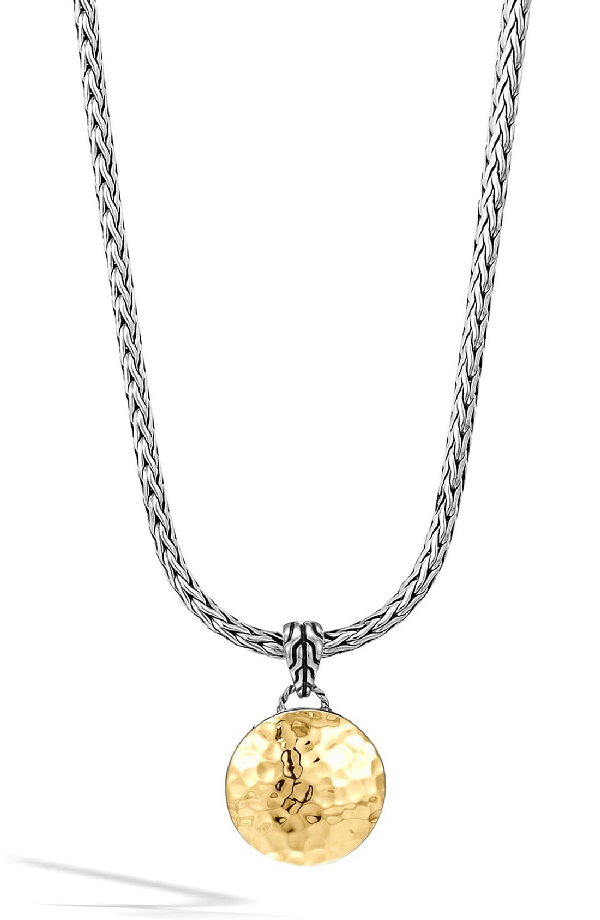 John Hardy Sterling Silver And 18K Gold Palu Round Pendant On Chain Necklace, 16 In Silver/ Gold