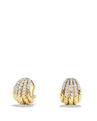 David Yurman Tempo Earrings With Diamonds In 18K Gold