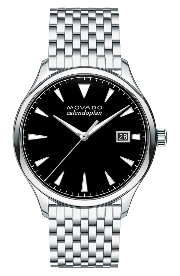 Movado Heritage Calendoplan Bracelet Watch, 40mm In Silver/ Black