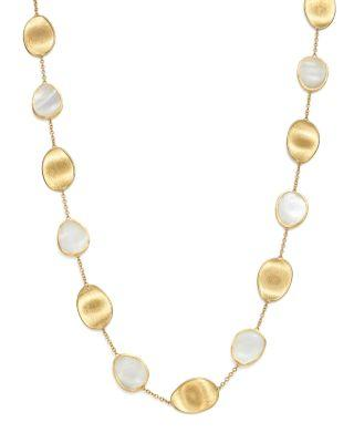 Marco Bicego 18K Yellow Gold Lunaria Mother-Of-Pearl Collar Necklace, 16 In White Mother Of Pearl