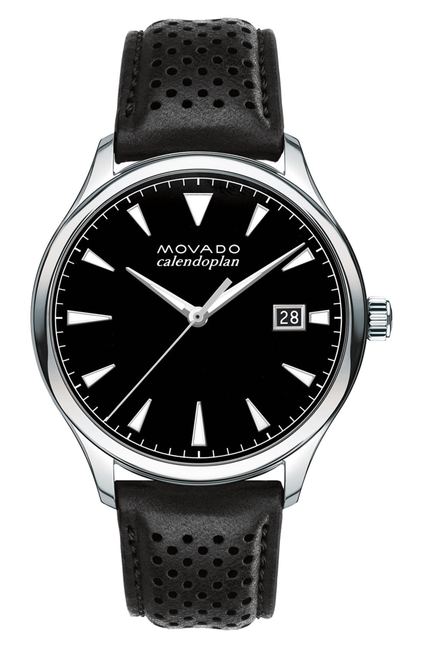 Movado 'heritage' Leather Strap Watch, 40mm In Black/ Black