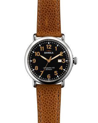 Shinola 'Runwell' Leather Strap Watch, 41Mm In Tan/ Black