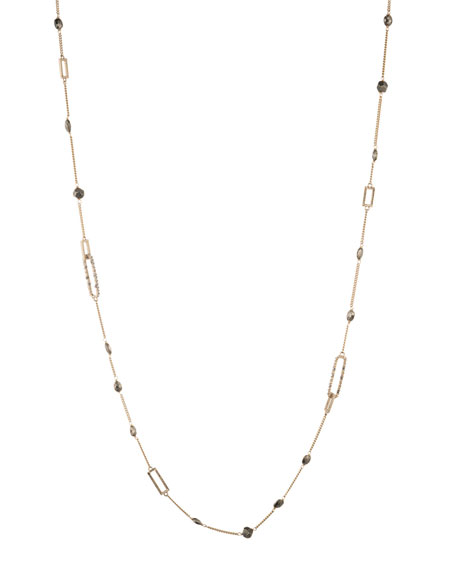 Alexis Bittar Crystal Encrusted Link Necklace W/ Pyrite In Crystal/ Gold