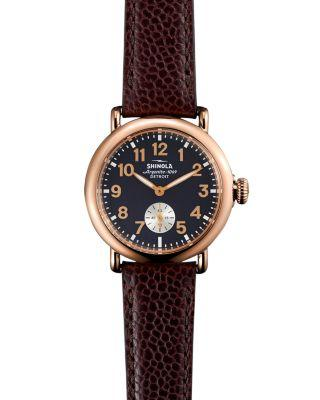 Shinola 'The Runwell' Leather Strap Watch, 36Mm In Oxblood/ Midnight Blue