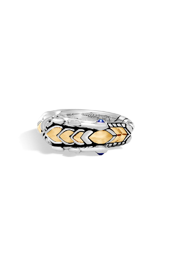 a9436716b433 John Hardy 18K Gold And Sterling Silver Legends Naga Ring With Sapphire In  Silver/ Black
