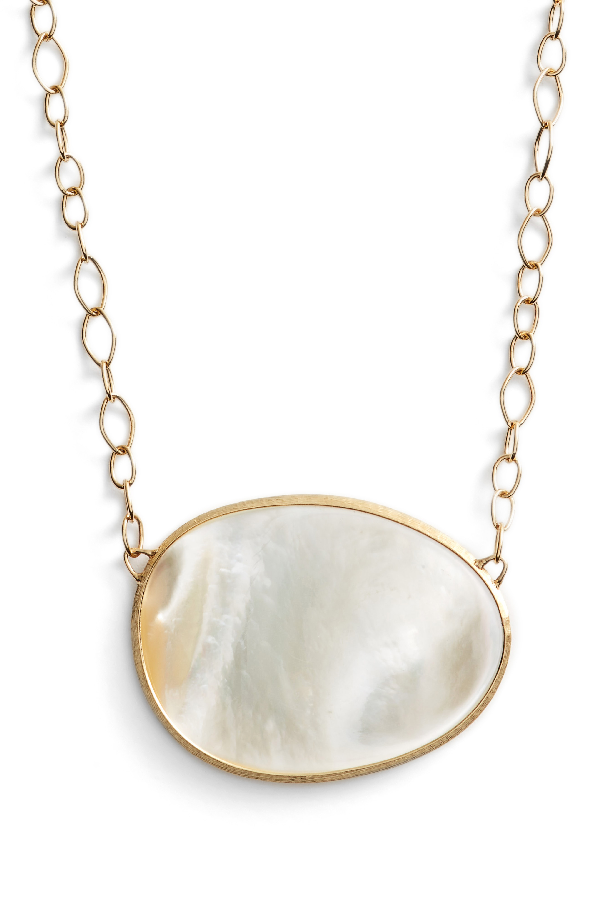 Marco Bicego 18K Yellow Gold Lunaria Mother-Of-Pearl Pendant Necklace, 16 In White Mother Of Pearl