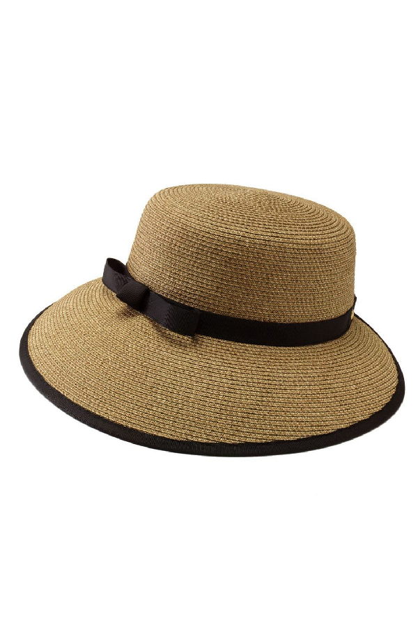 Eric Javits Squishee Straw Cap - Multi In Natural/Black