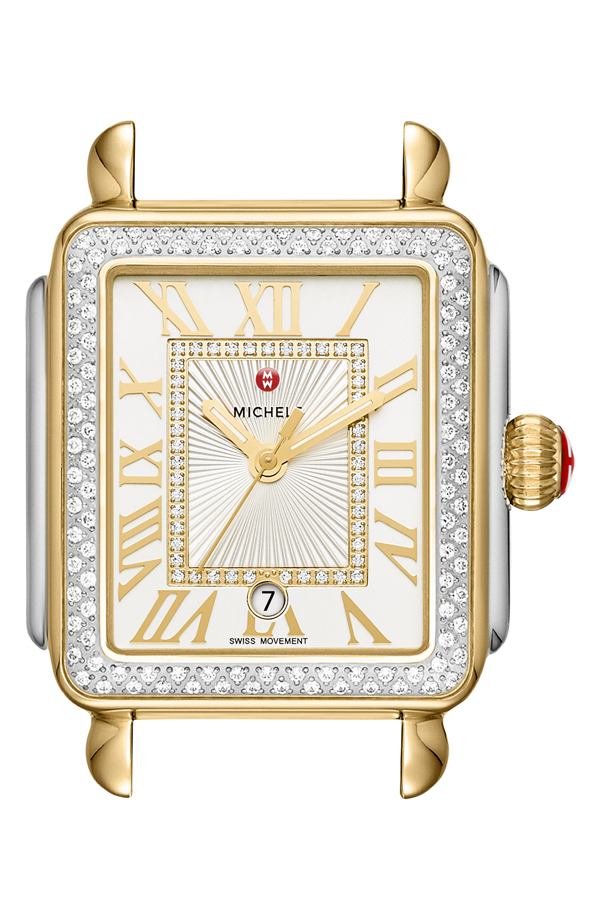 Michele Deco Madison Diamond Dial Watch Case, 33mm X 35mm In Gold