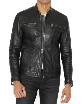 John Varvatos Leather Band Collar Moto Jacket In 001 Black