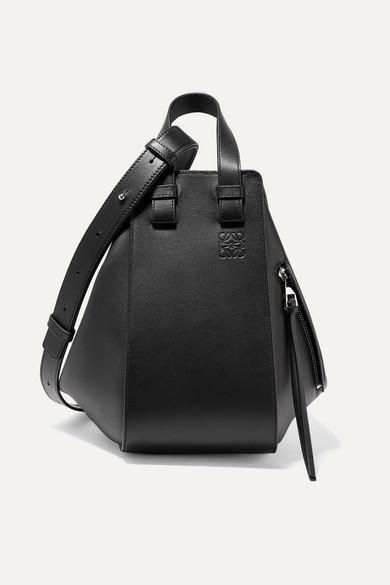 Loewe Hammock Small Textured-leather Shoulder Bag In Black