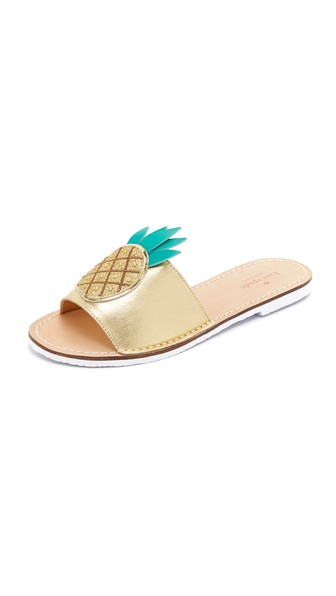 07f6749fdcd0 Kate Spade Ibis Embroidered Pineapple Slide Sandals In Gold