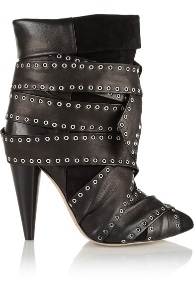 Isabel Marant Woman Aleen Belted Leather And Suede Ankle Boots Black