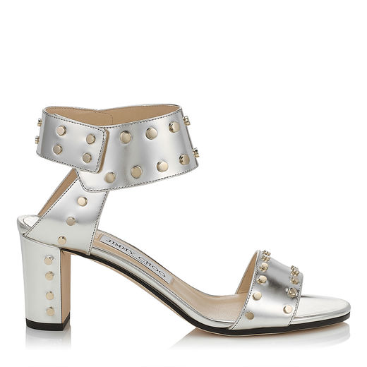 Jimmy Choo Veto 100 Silver Mirror Leather Sandals With Gold Studs In Silver/gold