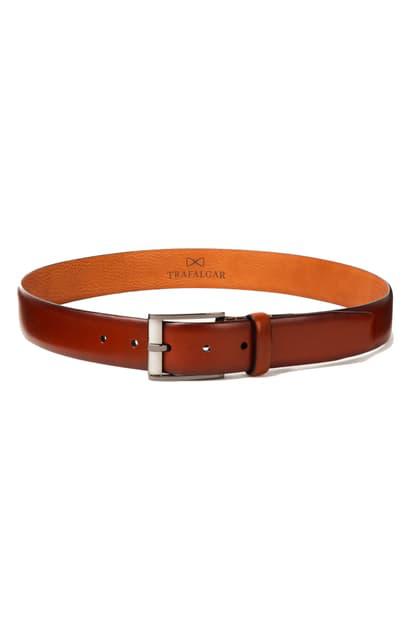 Trafalgar Men's Matteo French Calf Leather Belt In Tan