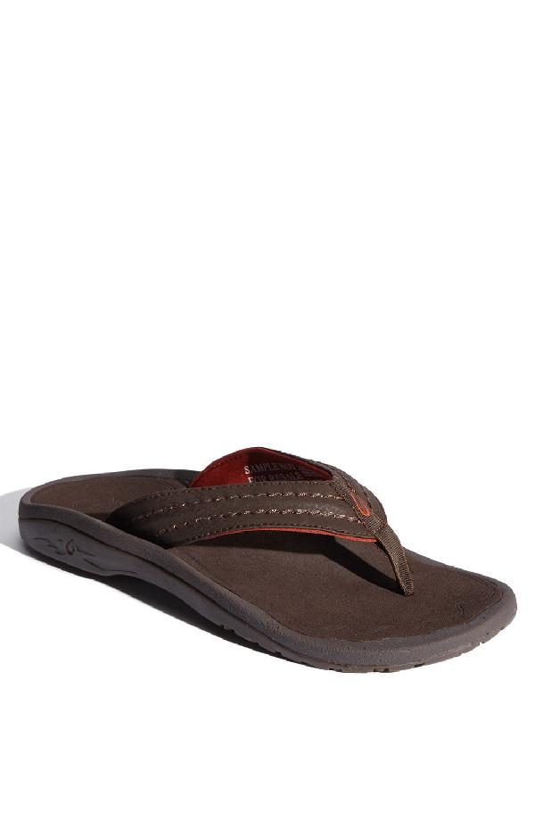 1e5644396074 Olukai Men s Hokua Flip-Flops In Dark Java Faux Leather