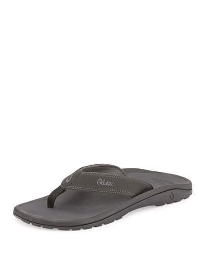 f6e025dce Olukai Ohana Men s Thong Sandals In Black  Dark Shadow