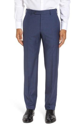 Zanella Parker Flat Front Classic Fit Sharkskin Wool Dress Pants In Blue
