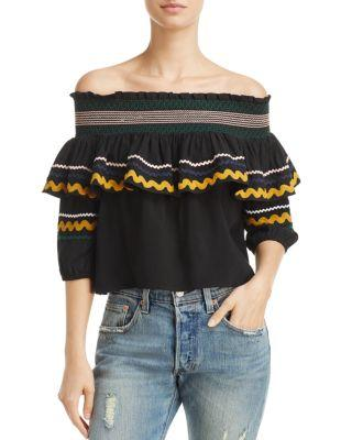 80d3fe7a59bfc Red Carter Paloma Off-The-Shoulder Ric Rac Top In Black
