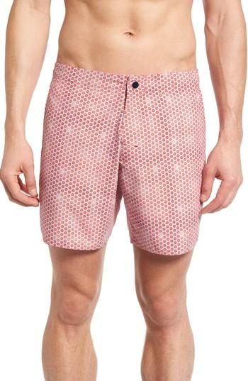 Zachary Prell Amaranth Coral-print Swim Trunks, Navy In Red