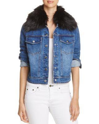 12e73ae26438 Bagatelle Removable Faux-Fur-Collar Denim Trucker Jacket In Black ...