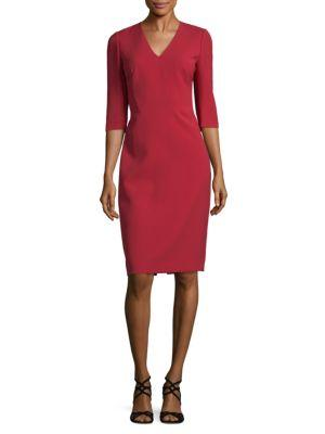 Lafayette 148 Delilah V-Neck Dress In Red Rock