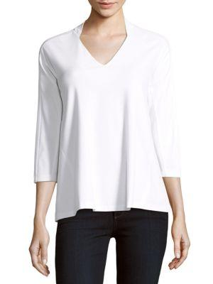 Lafayette 148 Solid V-Neck Blouse In White