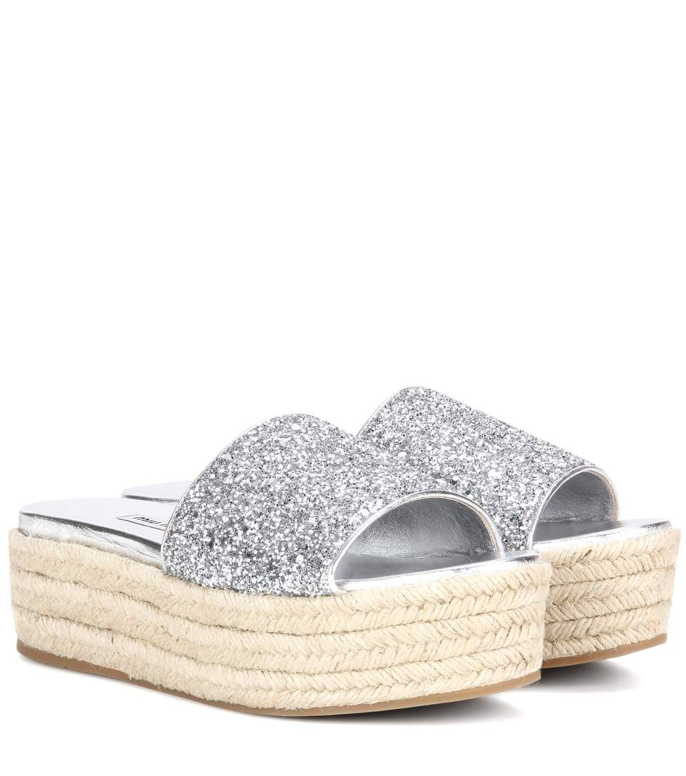 Miu Miu Glitter Platform Espadrille Slide Sandal, Argento In Argeeto