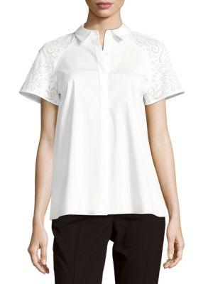 4ae07712fdd79a Lafayette 148 Ingrid Solid Button-Front Top In White
