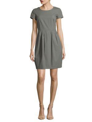 Lafayette 148 Cotton-Blend Solid Dress In Rock