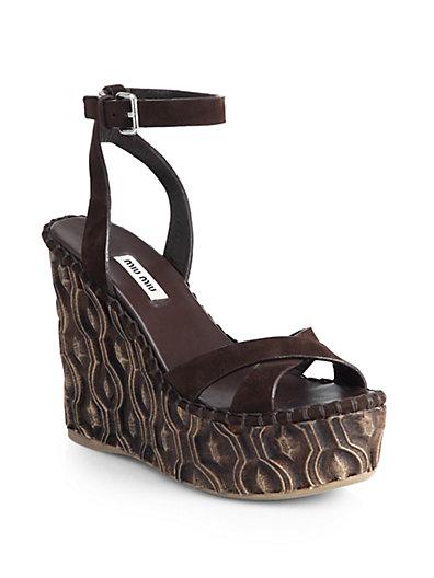 Miu Miu Crisscross-Strap Wedge Sandals In Brown