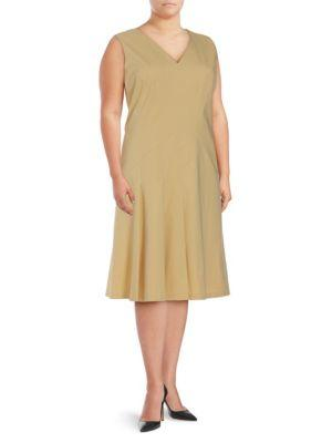 Lafayette 148 Plus Solid V-Neck Dress In Citronella