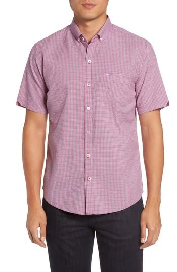 Zachary Prell Billy Trim Fit Plaid Sport Shirt In Berry
