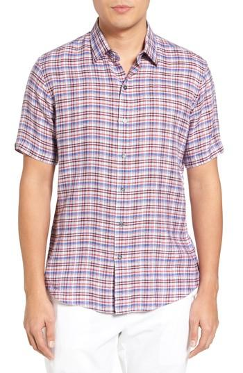 Zachary Prell Bean Trim Fit Plaid Linen Sport Shirt In Terracotta