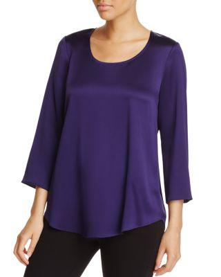 Eileen Fisher 3/4-Sleeve Silk Satin Blouse In Dark Venus