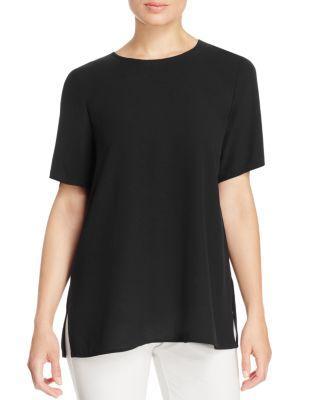 Eileen Fisher Short-Sleeve Silk Tee In Black