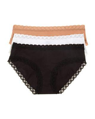 51bd973a4cd6 Natori Bliss 3-Pk. Lace-Trim Cotton Brief 156058Mp In Black/Cafe ...