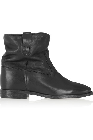 Isabel Marant 70Mm Cluster Wedged Leather Boots In Black