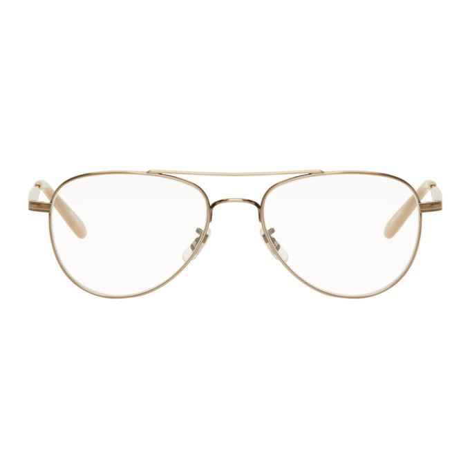 b75c64e6067c9 Garrett Leight Gold Linnie Aviator Glasses
