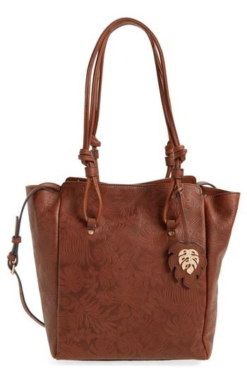 Tommy Bahama Embossed Leather Tote - Brown In Chestnut