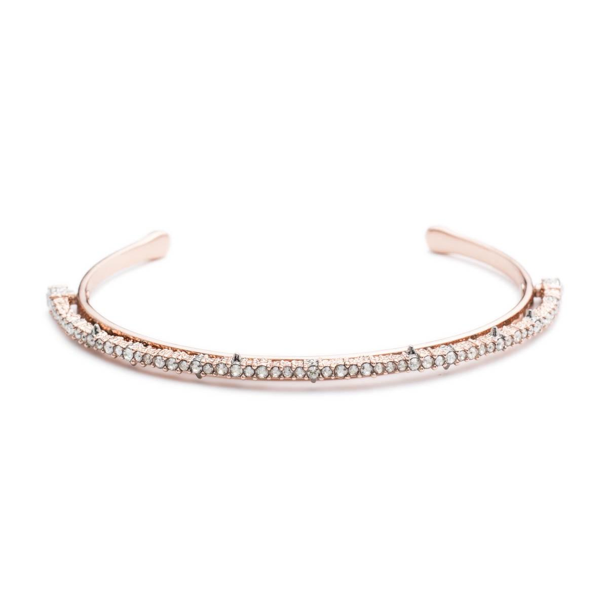 Alexis Bittar Crystal Lace Orbiting Wrist Cuff In Rose Gold